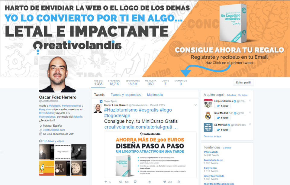 Squeeze Page enlazada desde twitter